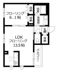 募集図面Aタイプ301号室(45.5㎡)